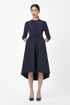 COS image 1 of Technical pleated skirt in Navy