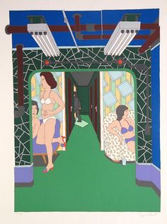 Seymour Chwast The Massage Parlor,1980 Serigraph signed and numberd, xx/250 Image Size: 31.1/2 x 25.1/2 in Paper Size: 31.1/2 x 25.1/2 in Condition: very good condition