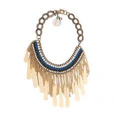 Tebe hand stitched necklace by Sveva. Swarovski crystal, leather, brass. 5