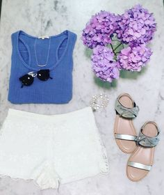 Sandals, shorts, shades and a cute tank — our 'uniform' this summer! // Mercer // http://mercerstore.com/