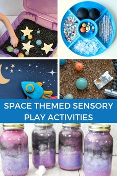Space themed sensory play activities for kids. Includes book lists with sensory play book extension activities with a space theme. Space Crafts Preschool, Planets Preschool, Planets Activities, Space Activities For Kids, Space Crafts For Kids, Sensory Activities, Sensory Play, Preschool Activities, Space Theme For Toddlers