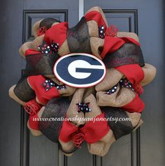 University of Georgia Wreath - Georgia Bulldogs Wreath - Burlap Collegiate Wreath on Etsy, $95.00
