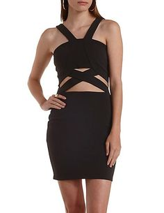 Crossover Cut-Out Bodycon Bandage Dress: Charlotte Russe #dress #bodycon