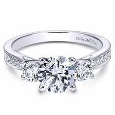 Three Stone Engagement Ring by Gabriel & Co., ct center round center stone not included set in White Gold Engagement Ring Buying Guide, Three Stone Engagement Rings, Rose Gold Engagement Ring, Silver Jewellery Online, Beautiful Wedding Rings, Dream Wedding, Stylish Rings, Ring Verlobung, Bridal Rings