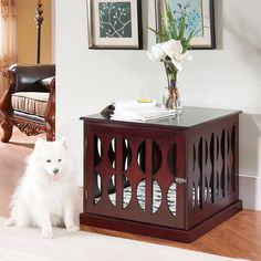 Wooden Dog Kennel Crate End Table Side Furniture Puppy Pad Cage Pet Be… - Wood Crates Shipping