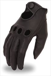Men's Leather Driving Gloves with Knuckle Holes