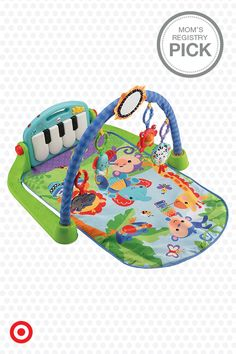 The Fisher-Price Kick & Play Piano Gym will keep your little one entertained from infant to toddler. Baby can play four different ways: lay & play, tummy time, sit & play and take along. The five activity toys encourage Baby to bat and grasp, and the music rewards Baby as they kick the piano keys. Now that's music to your ears.