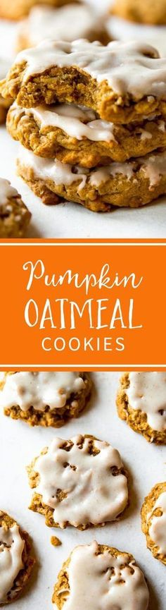 Massively flavorful and simple brown butter pumpkin oatmeal cookies with icing on top! Recipe on sallysbakingaddiction.com