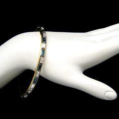 Vintage Bangle Bracelet Blue Clear Baguette by MyClassicJewelry