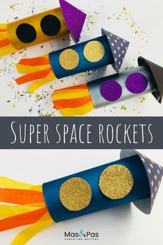 Space rocket craft These paper roll space rockets are out of this world. They're so quick and easy to make. In minutes you can transform a simple toilet roll into an almighty rocket, ready to launch off into space. An exciting summer craft for kids. Space Crafts For Kids, Spring Crafts For Kids, Easy Crafts For Kids, Craft Activities For Kids, Toddler Crafts, Crafts To Do, Preschool Crafts, Diy For Kids, Big Kids