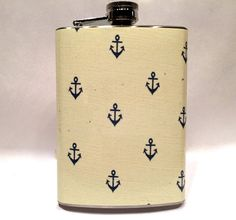 Vintage Nautical Anchor Wallpaper Steel 8oz Hip Flask by Swagstr #nautical #anchor #sail #etsy #flask #navy #usa #drink #cute