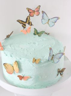 Beautiful Butterfly Birthday Cake - The Alison Show Para llevar al cole Butterfly Birthday Cakes, Birthday Cake For Mom, Fairy Birthday Party, Butterfly Cakes, Cake With Butterflies, Birthday Ideas, Garden Birthday, Birthday Parties, Butterfly Baby Shower