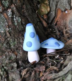 These miniature blue mushrooms/ toadstools are perfect for your fairy garden, terrarium, or just about anywhere. The short one is approximately 1 inch