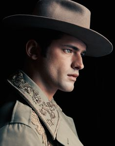 Male supermodel Sean O'Pry styled in western men's wear by Christian Stroble for Harper's Bazaar Taiwan - Walter Schupfer Management artist