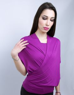 Purple sleeveless shirts with a scarf 2 ways by HocusPocusStudio, $82.00