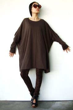 NO62    Brown CottonBlend Oversized TShirt Tunic by JoozieCotton, $42.00