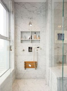 Trendy bathroom shower seat walk in ideas Tile Shower Niche, Bathroom Niche, Small Bathroom, Master Bathroom, Master Shower, Bathroom Ideas, Bathroom Designs, Bathroom Renovations, Tile Showers