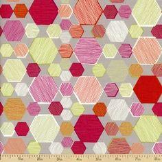Geometriska Farida Cotton Fabric - Grey