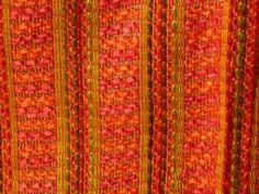 "Pr Vtg Mid Century Sears Textured Pinch Pleat Curtains Drapes Orange Pink 84"" L"