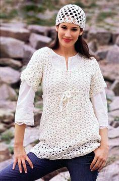 Ажурное мини-платье и шапочка - Вязание Крючком. Блог Настика. Схемы, узоры, уроки бесплатно