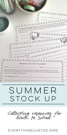 Summer Stock Up   everythingjustso.org   I'm participating in a Summer Stock Up with a fabulous group of teacher bloggers. We've collected dozens of Back to School resources and want to share them with you. Each blogger is featuring products in at least one category and giving away a small sample. With over fifteen product categories, there's something for everyone! Plus, I'm giving away two of my resources to one lucky winner. Enter to win!