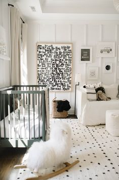 ways to bring a gender neutral nursery to life with oversized playful art & pops of color