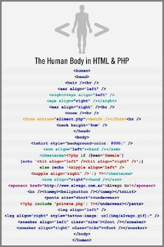 The Human Body in Html and PHP. The DNA from all of the cells in the human body is miles long. But it seems that if we were digitized, our code would only be a page long, including the detail about our shoes and, uhm, a tattoo on our right leg: Computer Programming Languages, Programming Humor, Coding Languages, Computer Coding, Python Programming, Computer Technology, Computer Science, Computer Humor, Computer Help