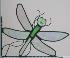 dragonfly stained glass window corner
