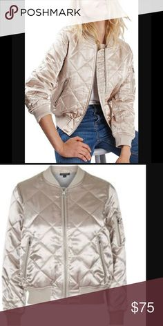Top shop quilted light gold bomber jacket New with tags Topshop light gold color bomber jacket I know Topshop runs small usually but this one is true to size and good for size 4/6 Topshop Jackets & Coats