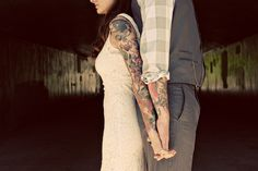 Tattoos are a great way to express yourself, so don't feel like you have to cover them up for a modern wedding. This bride and groom's wedding day attire showed off their tattoo sleeves in this first look photo. Perfect Wedding, Dream Wedding, Wedding Day, Wedding Stuff, Brides With Tattoos, Tattooed Brides, Wedding Tattoos, Couple Shoot, Wedding Pictures