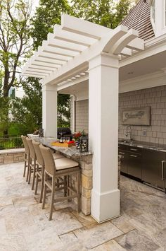 Outdoor kitchen island. Outdoor kitchen island with barstools. Outdoor kitchen island barstools. Outdoor kitchen island countertop. Outdoor kitchen island ideas #Outdoorkitchenisland  Southview Design