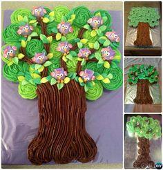 DIY Pull Apart Owl Tree Cupcake Cake-20 Gorgeous Pull Apart Cupcake Cake Designs For Any Party
