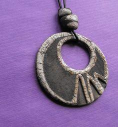 Collar ceramica raku tribal hippie colgante grande por CERAMICAHUMO