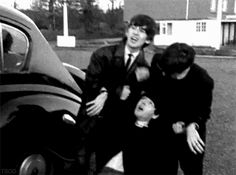 Paul pretends to faint after seeing his picture  in the paper. They were so strange...and I love them so much.