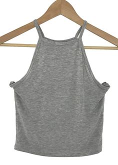 high neck ribbed crop top (heather grey)