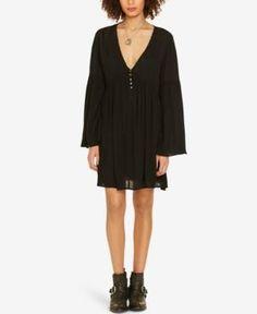 Denim & Supply Ralph Lauren Empire-Waist Bell-Sleeve Dress - Black XS