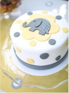 Baby elephant gender reveal cake. This is SO cute