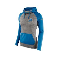 Nike Women's Detroit Lions NFL Champ Drive AT Hoodie ($30) ❤ liked on Polyvore featuring activewear, activewear tops, grey, nfl sportswear, nike, nike sportswear, nike activewear and logo sportswear