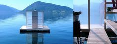 Floating sauna. Accessible by by boat of swimming through gaps allowing access from underneath. Sauna by day, floating lantern by night.