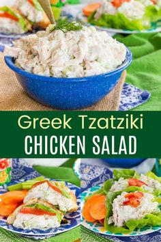 Greek Yogurt Cucumber Dill Chicken Salad - add the fresh and healthy flavors of classic Greek tzatziki sauce to make your chicken salad recipe anything but basic. Stuff it in pitas or make lettuce wraps for a quick and easy no-cook lunch or dinner. Tzatziki Sauce Recipe Greek Yogurt, Greek Yogurt Chicken Salad, Tzatziki Recipes, Greek Yogurt Recipes, Tzatziki Chicken, Dill Chicken, Chicken Gyros, Canned Chicken, Easy Healthy Recipes