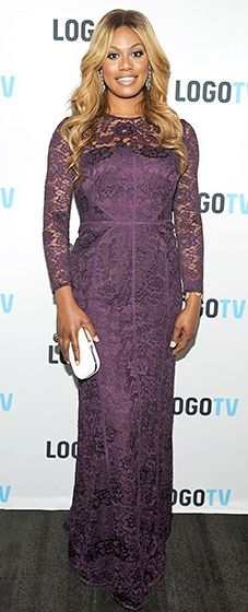 Laverne Cox stunned at the premiere of her new show in a long-sleeved, plum evening gown, covered in lace.
