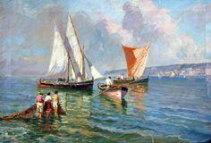 Pasini (Attivo nel XX secolo) Marina con barche e pescatori olio su tela cm 29x44 firmato in basso a sinistra: Pasini