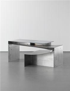 PHILIP MICHAEL WOLFSON Prototype 'Longevity' desk, 2007  Aluminium, glass. 72.4 x 179 x 101 cm (28 1/2 x 70 1/2 x 39 3/4 in) Number 1 of 2 prototypes.