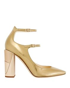 Jimmy Choo Marlowe Double Strap Metallic Leather Pump: Two buckled straps. 3.7 square heel. Leather soles. In gold metallic leather. Made in ...