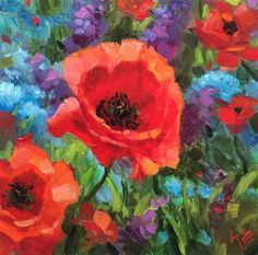 "Daily+Paintworks+-+""Poppy+Field""+-+Original+Fine+Art+for+Sale+-+©+Krista+Eaton"