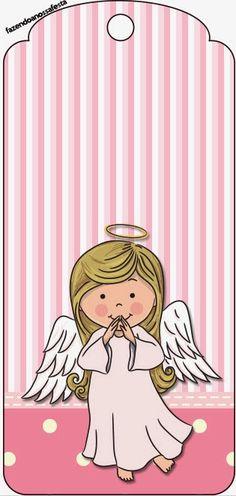 Imprimibles y Tarjetería para Imprimir Gratis  con linda Angelita que te pueden servir para  Fiestas de Bautismo o de Primera Comu...