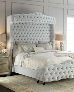 -5ZRL Haute House Grand Chez Tufted Queen Bed Grand Chez Tufted King Bed Grand Chez Tufted California King Bed Simple Bedroom Design, Luxury Bedroom Design, Master Bedroom Design, Home Decor Bedroom, Bedroom Furniture, Furniture Design, Interior Design, Bedroom Ideas, Grey Furniture
