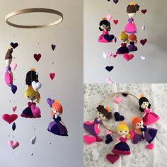 Beautiful handmade felt mobile featuring 4 felt princesses and strings of hearts and pearls! Hung on a wooden hoop with a metal ring for ease of hanging. Contact me if you would like something made in any colours you like