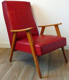 Fauteuil - Bois et Skaï Rouge - Style Scandinave - Années 50-60