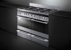 Fisher & Paykel 120cm Freestanding Cooker (OR120DDWGFX1). The ultimate appliance combines the convenience of two multifunction ovens with the control and precision of an integrated 6 burner gas cooktop, while the unique design and clean lines in glass and  stainless steel compliment the style and elegance of any modern kitchen.